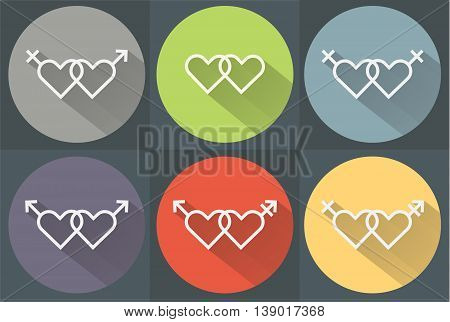 Flat lgbt gender colorfuul hart icons set with flat shadow