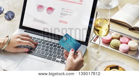 E-shopping Online Shopaholic Paying Credit Card Concept