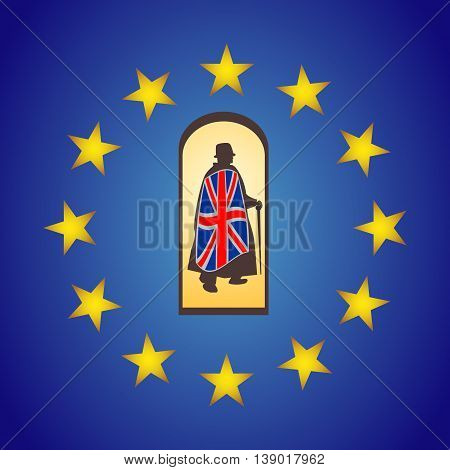 Brexit vector concept. UK Man leaving EU. UK leave European Union illustration