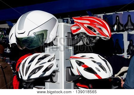 Reliable bike colorful helmets for safe ride. Body activity. Health.