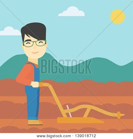 An asian farmer using a plough on the background of plowed agricultural field. Farmer working with a plough. Vector flat design illustration. Square layout.