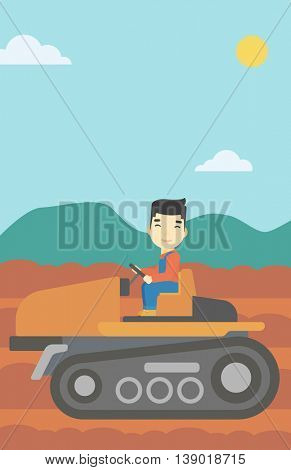 An asian farmer driving a tractor on the background of plowed agricultural field. Farmer sitting on a tractor in the countryside. Vector flat design illustration. Vertical layout.
