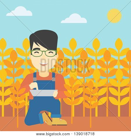 An asian farmer checking plants on a wheat field. Farmer working on a digital tablet in a field. Vector flat design illustration. Square layout.
