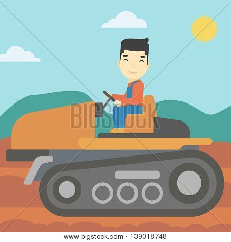 An asian farmer driving a tractor on the background of plowed agricultural field. Farmer sitting on a tractor in the countryside. Vector flat design illustration. Square layout.