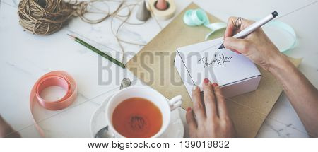 Writing Message On Present Package Decorations Concept
