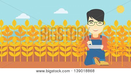 An asian farmer checking plants on a wheat field. Farmer working on a digital tablet in a field. Vector flat design illustration. Horizontal layout.