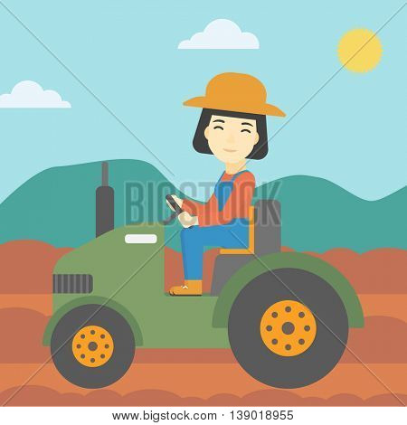 An asian female farmer driving a tractor on the background of plowed agricultural field. Farmer sitting on a tractor in the countryside. Vector flat design illustration. Square layout.