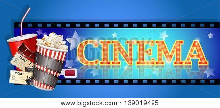 cinema banners isolated on a blue background.  vector illustration