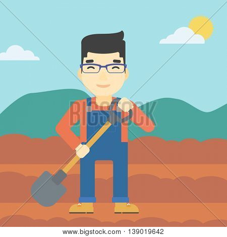 An asian farmer with shovel on the background of plowed agricultural field. Friendly farmer with spade in field. Vector flat design illustration. Square layout.