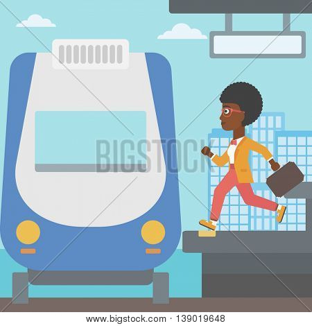 An african-american latecomer woman running along the platform to reach the train. Young woman with briefcase at the train station. Vector flat design illustration. Square layout.