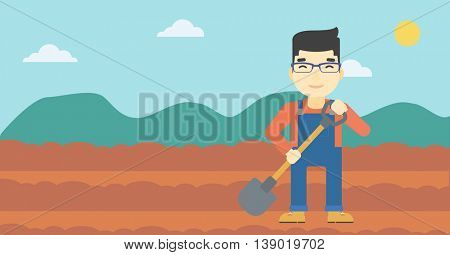 An asian farmer with shovel on the background of plowed agricultural field. Friendly farmer with spade in field. Vector flat design illustration. Horizontal layout.