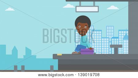 An african-american young man sitting on a suitcase at the train station. Young man waiting for a train at the railway platform. Vector flat design illustration. Horizontal  layout.
