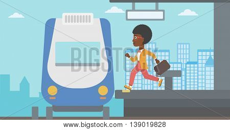 An african-american latecomer woman running along the platform to reach the train. Young woman with briefcase at the train station. Vector flat design illustration. Horizontal  layout.