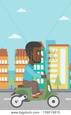 An african-american young man riding a scooter on a city background. Young man driving a scooter in the street. Vector flat design illustration. Vertical layout..