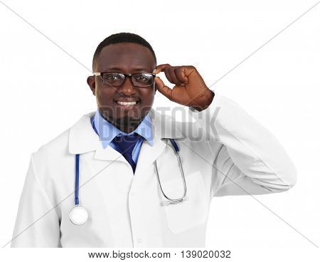 Professional African doctor, isolated on white