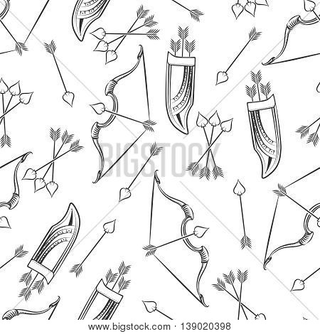 Seamless pattern with hand drawn arrows and bow on white. Vector illustration