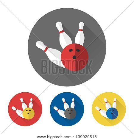 Flat bowling ball and skittles icons set. Bowling icons vector