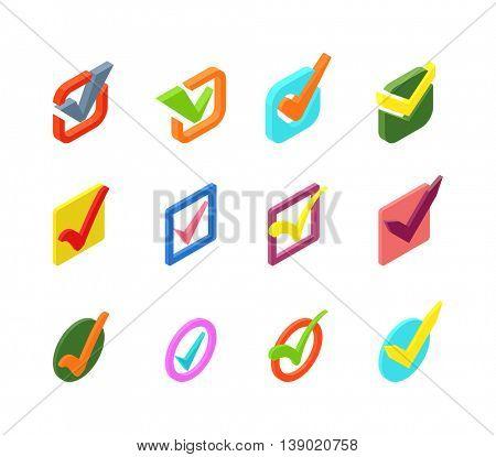 Check vote icon vector set