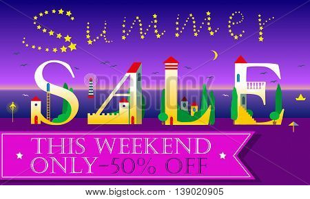 Summer Sale Inscription for retail. Cute houses on the night beach. Artistic font. Stars in the sky. Pink banner for custom text. Vector Illustration
