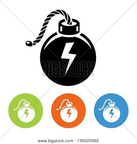 Flat bombs with lit fuse icons set vector