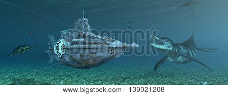Computer generated 3D illustration with fantasy submarine and marine wildlife
