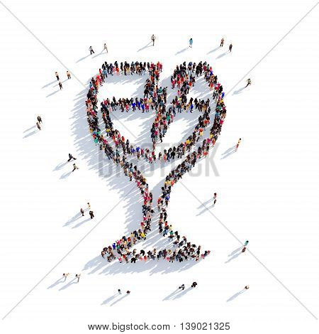 Large and creative group of people gathered together in the shape of a sign post parcels, glass. 3D illustration, isolated against a white background. 3D-rendering.