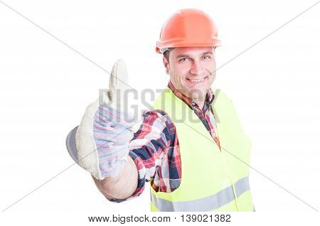 Successful Builder Smiling And Showing Thumb Up