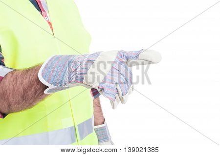 Male Constructor Hand In Closeup Showing Something
