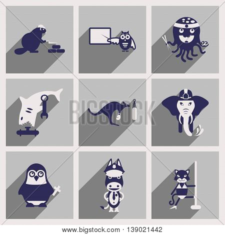 Set of flat icons with long shadow animals