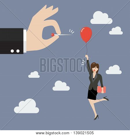 Hand pushing needle to pop the balloon of woman. Business competition concept