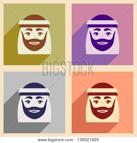 Concept flat icons with long shadow Arab men