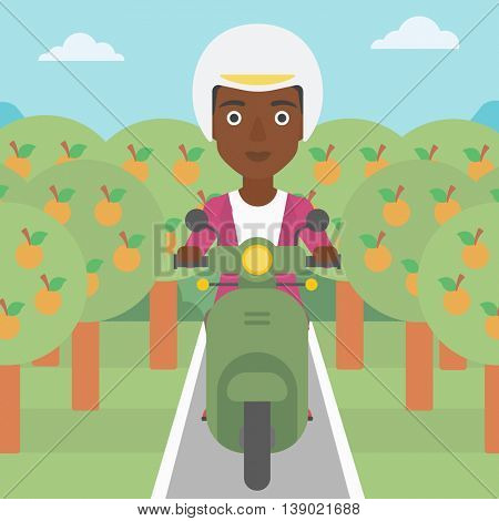 An african-american young woman riding a scooter on the asphalt road through the orchard. Young woman in helmet driving a scooter. Vector flat design illustration. Square layout.