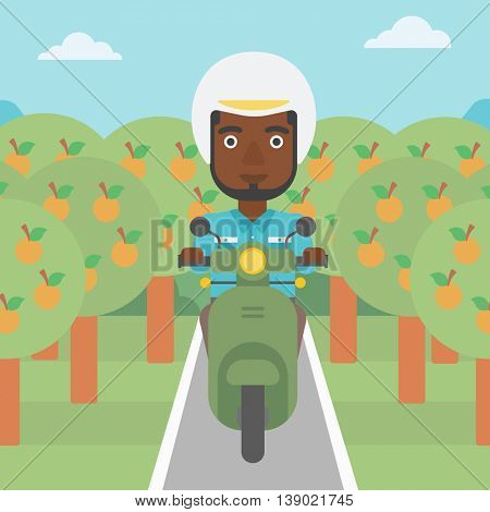 An african-american young man riding a scooter on the asphalt road through the orchard. Young man in helmet driving a scooter. Vector flat design illustration. Square layout..