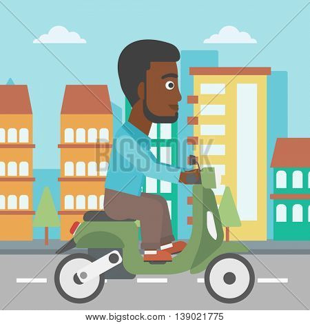 An african-american young man riding a scooter on a city background. Young man driving a scooter in the street. Vector flat design illustration. Square layout..