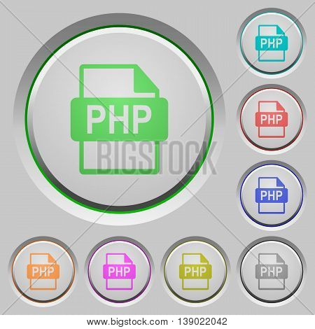 Set of color PHP file format sunk push buttons.