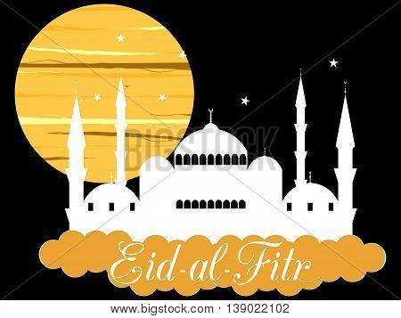 Ramadan Kareem blue mosque. Eid al fitr muslim traditional holiday. Eid mubarak. Vector.