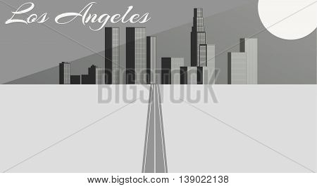 The road to the city in the distance. Black and white vector illustration.