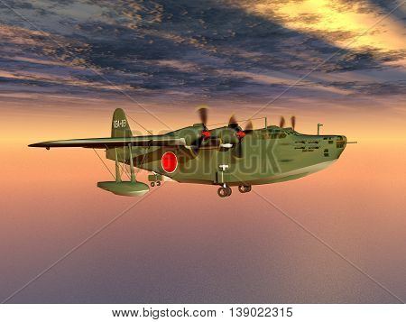 Computer generated 3D illustration with a Japanese Navy flying boat of World War II