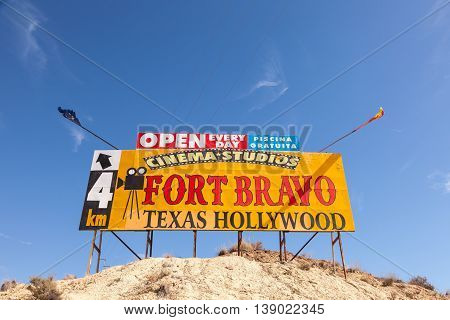 TABERNAS SPAIN - OCT 17 2015: Fort Bravo Texas Hollywood western style theme park sign in the Province of Almeria Spain