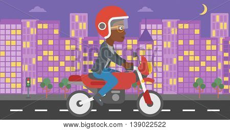 An african-american young woman in helmet riding a motorcycle on the background of night city. Woman driving a motorbike on a city road. Vector flat design illustration. Horizontal  layout.