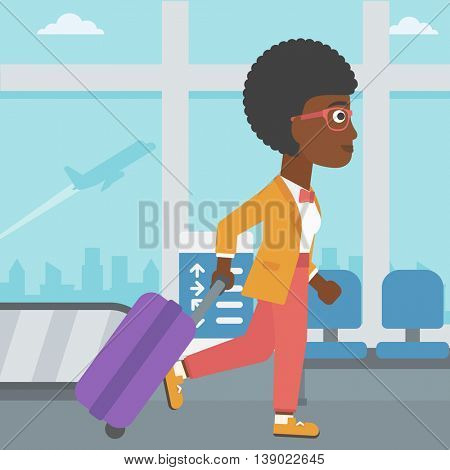 An african-american young woman with a suitcase walking at the airport. Vector flat design illustration. Square layout.