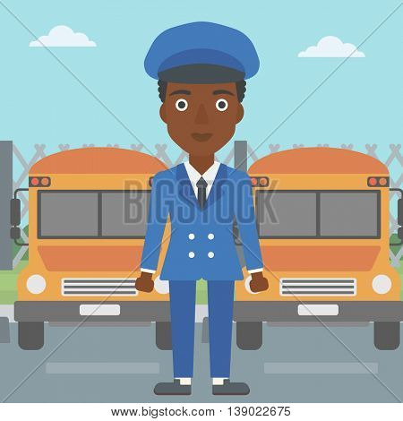 An african-american young school bus driver standing in front of yellow bus. Vector flat design illustration. Square layout.