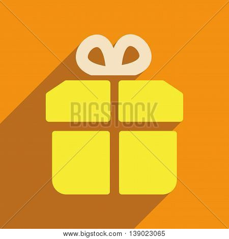 Flat web icon with long shadow gift