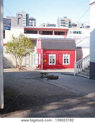 Street view of strange small house of Reykjavik Iceland
