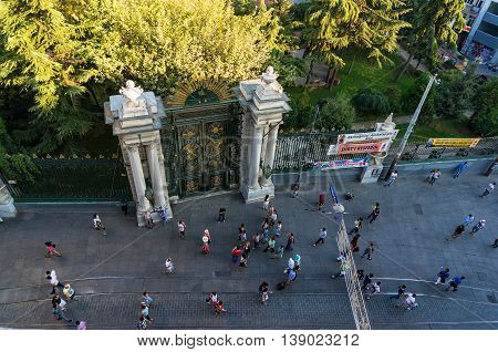Istanbul Turkey - Aug 28 2013: Aerial view of Galatasaray High School on Istiklal street. It is one of the most influential high schools in modern Turkey