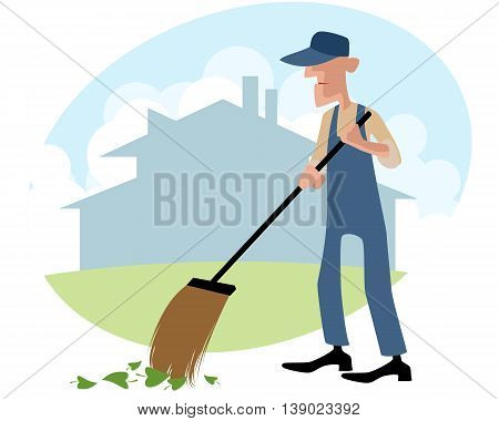 Vector illustration of a janitor sweeping the yard