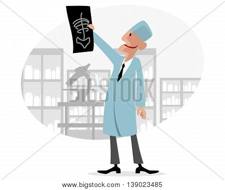 Vector illustration of a doctor with X-ray