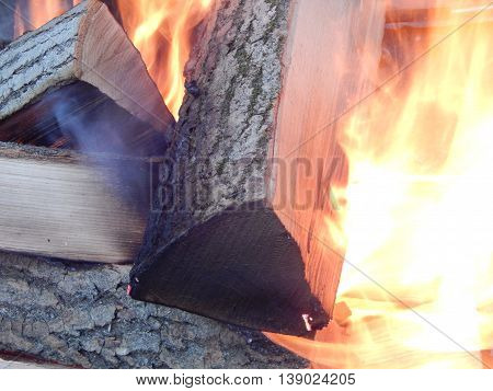 Natural fire background burning wood in a fireplace
