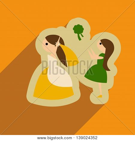 Flat web icon with long shadow bride throws bouquet