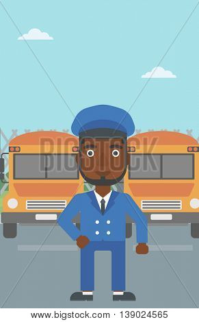 An african-american school bus driver standing in front of yellow bus. Vector flat design illustration. Vertical layout.